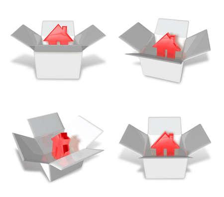 redcap: 3D House icon inside a box. 3D Icon Design Series.