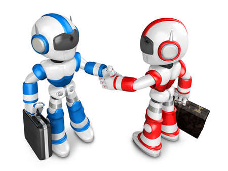 humanoid: Shake hands Blue robot and Red robot facing each other. Create 3D Humanoid Robot Series. Stock Photo