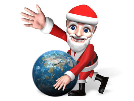 earth moving: 3d santa moving the glove and his hand up