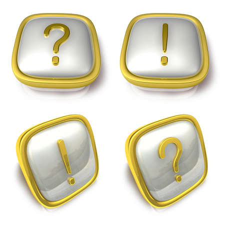 exporter: Question mark and Exclamation mark 3d metalic square Symbol button. 3D Icon Design Series.