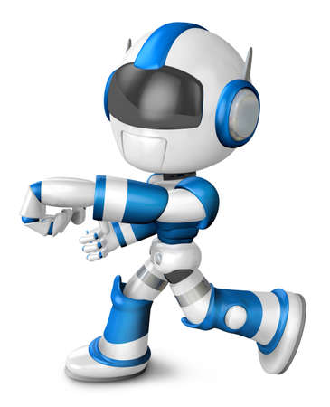 pugilism: Blue robot character Punching to the left. Create 3D Humanoid Robot Series.