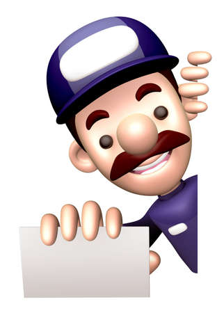 character design: Man showing a business card. 3D Business Man Character Design