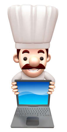 advertised: A chef advertised as a notebook computer. 3D Chef Character Stock Photo