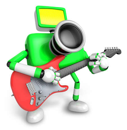 classical mechanics: To the Right toward the Green Camera Character playing the guitar. Create 3D Camera Robot Series.