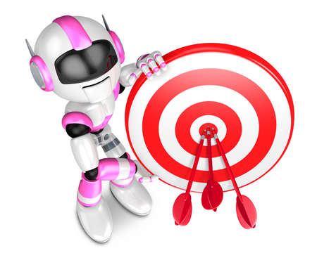 dart series: Pink Robot Character holding a Big Dart board. Create 3D Humanoid Robot Series.