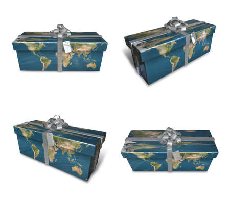 seniority: 3d decorated map paper lapping gifts array . 3D Icon Design Series.