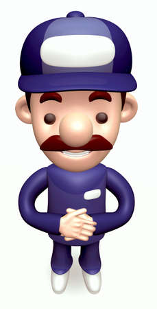 politely: Politely greeting service Man. 3D Business Character