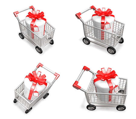 purchase: 3D Shopping cart and purchase icons. 3D Icon Design Series.