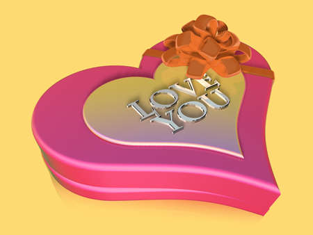 jewel box: 3d decorated and lettered pink jewel box as anniversary gift. Valentine 3D Illustration Design Series.