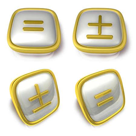 exporter: Equal and Plus minus sign 3d metalic square Symbol button. 3D Icon Design Series. Stock Photo