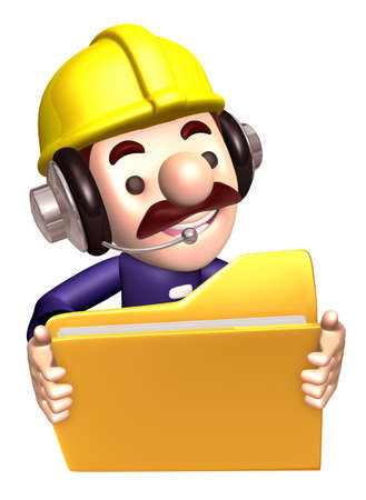 to seize: A construction staff hand Grasp the folder. 3D Works Character Design
