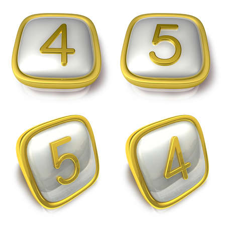 exporter: Four and Five 3d metalic square Symbol button. 3D Icon Design Series. Stock Photo