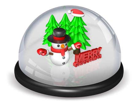 boule de neige: 3D petit bonhomme de neige et des arbres dans la boule de neige