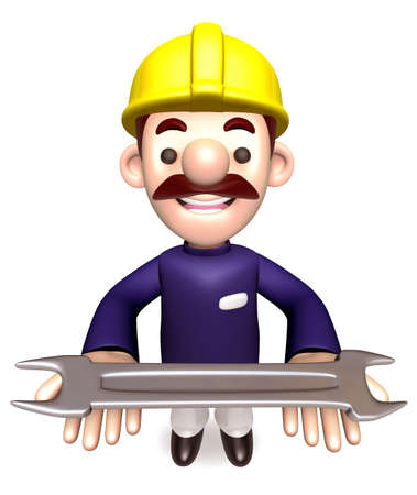 character design: Construction site employees holding a spanner. 3D Works Character Design