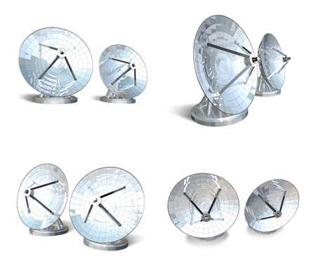antennas: satellite antennas 3d range four set
