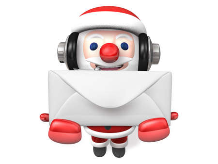 nose close up: 3d santa giving white envelope with headphone Stock Photo