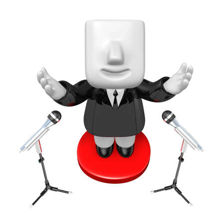 mike: 3d business man speaking behind stand mike. 3D Square Man Series.