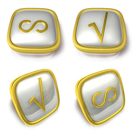 infinity symbol: Infinity and Check 3d metalic square Symbol button. 3D Icon Design Series.