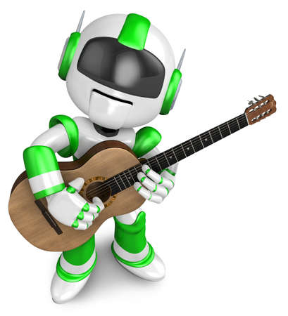 green been: Green robot has been playing the classical guitar. Create 3D Humanoid Robot Series.