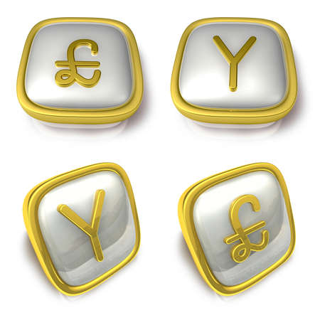 exporter: Pound sterling and China 3d metalic square Symbol button . 3D Icon Design Series.
