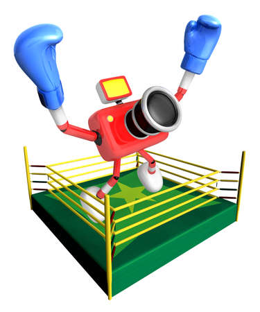 pugilism: Red camera character jump in green ring. Create 3D Camera Robot Series.