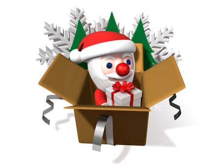 popping: popping up santa from the box,3d