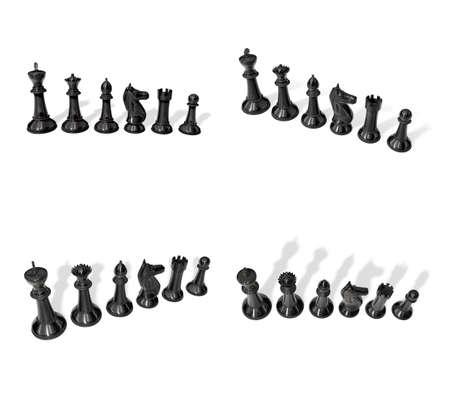 chessmen: 3d black chessmen standing side by side . 3D Icon Design Series.