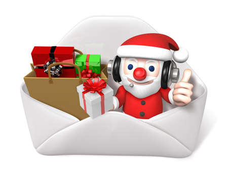 popping: 3d santa popping out envellope with gifts Stock Photo