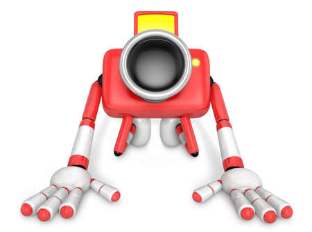 preservation: Red Camera Character kneel in prayer. Create 3D Camera Robot Series.