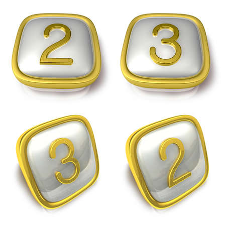 exporter: Two and Three 3d metalic square Symbol button. 3D Icon Design Series.