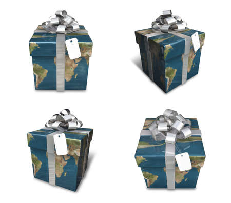 array: 3d decorated map paper lapping gifts array Stock Photo