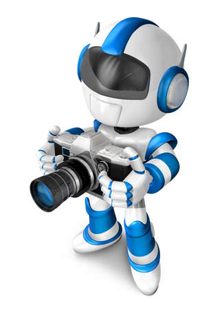humanoid: Blue robot character to shoot the camera toward the left. Create 3D Humanoid Robot Series. Stock Photo