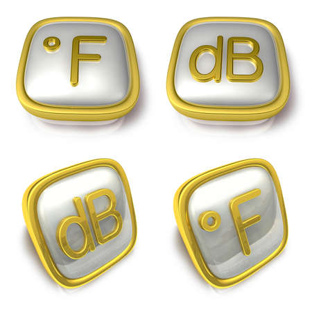 decibel: Fahrenheit and Decibel 3d metalic square Symbol button . 3D Icon Design Series.