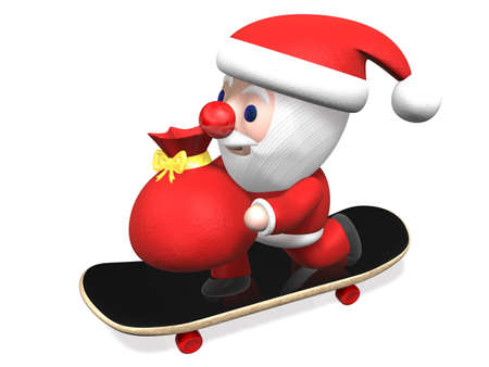 giving gift: giving gift by santa on the skateboard,3d