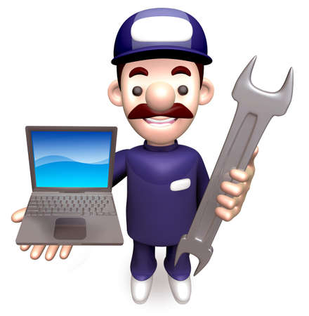 grasp: The Man Grasp the laptop and spanner. 3D Service Man Character
