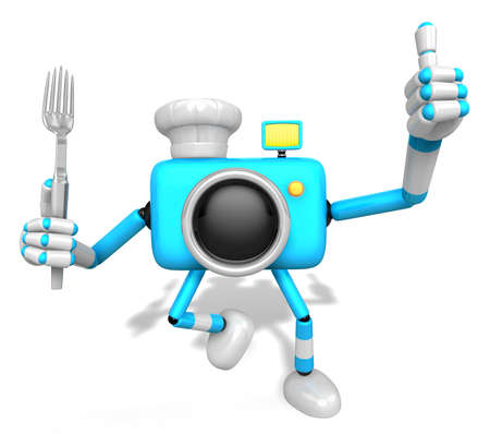 left hand: Chef Sky blue Camera Character left hand fork. The best gesture of the right hand is taking. Create 3D Camera Robot Serie.