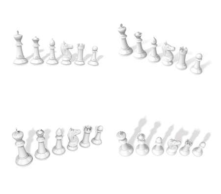 chessmen: 3d white chessmen standing side by side Stock Photo