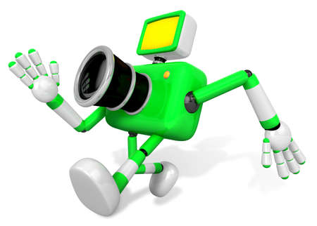 serie: Rushing toward the left side of the Green Camera Character. Create 3D Camera Robot Serie.