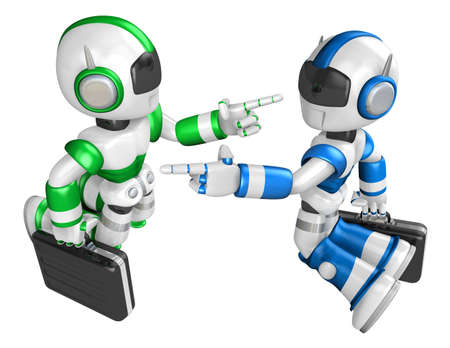 strife: Blue robot and Green robot face each other point the finger. Create 3D Humanoid Robot Series.
