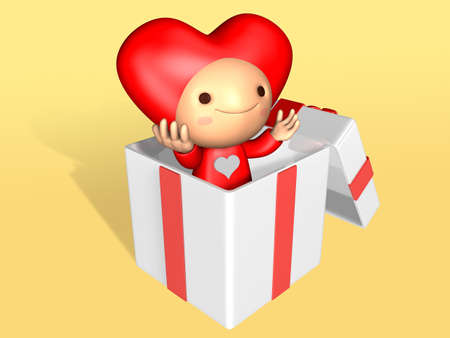 3d doll: 3d cute doll popping up in the decorated white gift bax . Valentine 3D Illustration Design Series.
