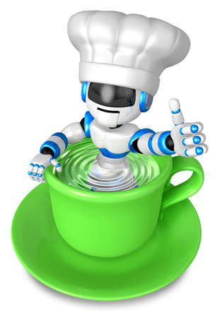 fidelity: A big cup in the best blue chef robot gestures. 3D Robot Character Design