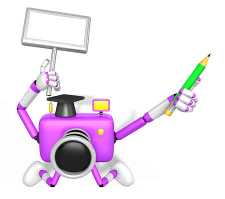 grasp: The left hand Holding the board Doctor Purple Camera Character. The right hand grasp pencil. Create 3D Camera Robot Series.