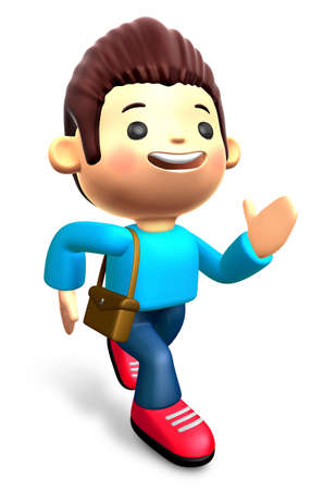 urgently: The boys ran urgently. 3D Kids Character Design