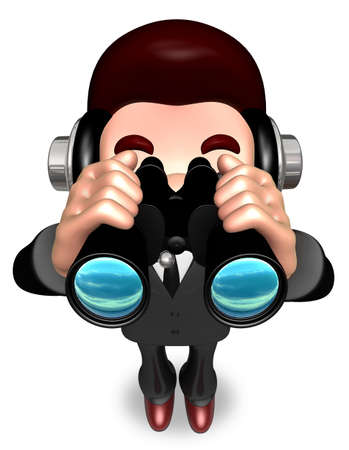 salesmen: The Service Man a binoculars watching. 3D Salesmen Character Stock Photo