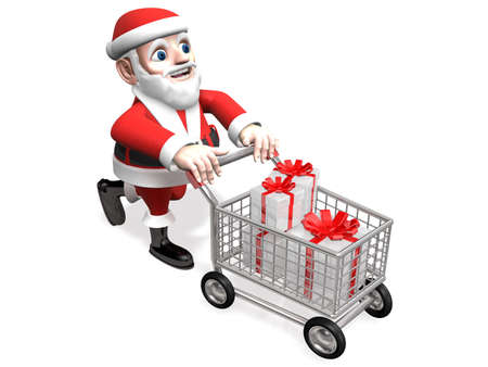 moving in: 3d santa moving gifts in the shopping cart Stock Photo