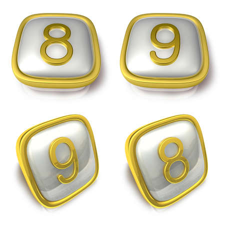 exporter: Eight and Nine 3d metalic square Symbol button. 3D Icon Design Series.