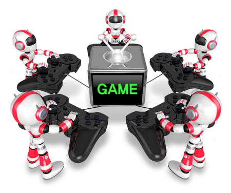 humanoid: Red robots playing games. Create 3D Humanoid Robot Series.