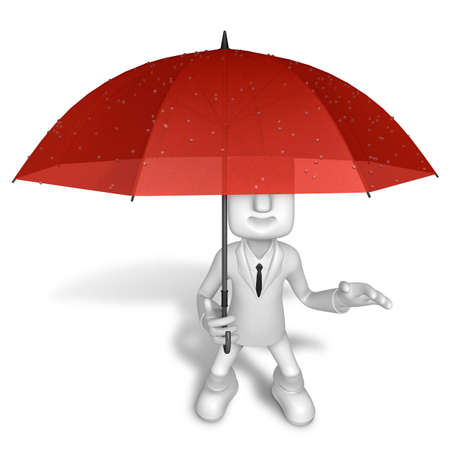 dodge: 3D Men to avoid a red umbrella in rain. 3D Square Man Series.