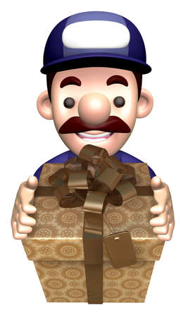 fidelity: Service man holding a big gift box. 3D Works Character Design Stock Photo