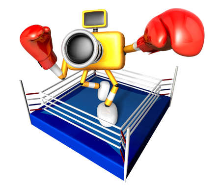pugilism: Blue Camera Character boxer takes a pose in the ring. Create 3D Camera Robot Series.